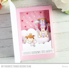 Sending Rainbows and Hearts - MFT Wednesday Sketch Challenge 420 Fun Fold Cards, 3d Cards, Pop Up Cards, Folded Cards, Cute Cards, Tarjetas Diy, Diy Shadow Box, Interactive Cards, Shaker Cards
