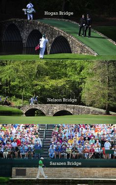 Fun Facts about Augusta - There are three dedicated bridges at Augusta National: the Sarazen Bridge at hole No. 15 -- to honor Gene Sarazens double eagle there during the 1935 Masters, the Hogan Bridge at the No. 12 green -- to honor Ben Hogans then record score of 274 in 1953, and the Nelson Bridge at the No. 13 tee -- to honor Byron Nelsons performance on holes No. 12 and 13 when he won the 1937 Masters.