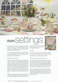 "Fuschia's vintage products and styling has featured in an article called ""Dream Settings"" in the current edition (January 2013) for Bride & Groom Magazine North Wales."