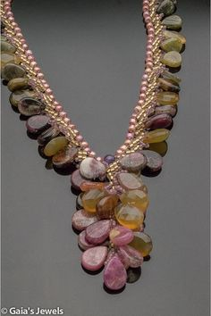 ~~Green and Pink Tourmaline and Brown Chalcedony Drops Y-Necklace Woven with Seed Beads by gaiasjewels~~