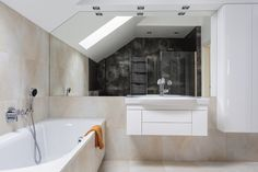 White Vanity With Matching Sink And Chrome Faucet