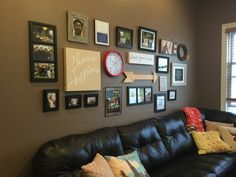 A grouping of family photos, sayings and images create a meaningful family room focal point. Wake Up, Family Photos, Family Room, Gallery Wall, Sayings, Create, Interior, Artwork, Home Decor