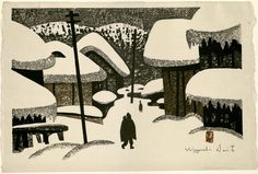 """Winter in Aizu (3)"" by Kiyoshi Saito, Japanese Prints Collection, MS.2013.043, John J. Burns Library, Boston College."