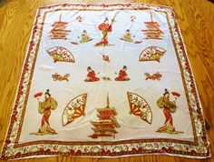 Vintage Scarf Magnificent Scarf Japanese Geisha by