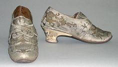 Shoes, 1720–40, European, silk, leather, wood, metallic. (c) Metropolitan Museum of Art