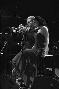"""Fabrizio Bosso & Elisabetta Fadini in """"Village Vanguard tribute"""" Verona Jazz 2015. Roman Theatre of Verona June 2015. Photo by Francesco Gallo"""
