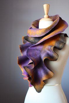 Felted fashion scarf   wool Purple / Charcoal / Orange by VitalTemptation