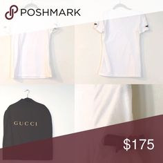 Gucci T-shirt White Gucci tee with signature green and red logo tie on cap sleeves. 90% Cotton. 10% elastane. Made in Italy. Hand wash. Gucci garment bag included. Worn once; size S. Gucci Tops Tees - Short Sleeve