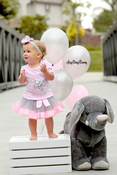Baby girls pink grey chevron elephant first by Itzybitzybeauty