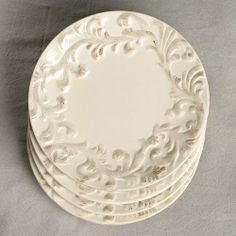 Salad Plate-Set of 4-Cream by Gracious Goods. $64.00. The raised scroll work border and vibrant hand-painted cream color of these hand crafted set of 4 ...  sc 1 st  Pinterest & Tuscan Style Dinner Plate | Table Settings | Pinterest | Tuscan ...