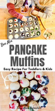 An easy pancake muffin recipe for kids and toddlers. Have your toddler or kid add in their favorite healthy toppings to these mini pancake muffins from a box mix, or use your favorite pancake batter recipe! recipes easy for kids Pancake Muffins Healthy Toddler Meals, Easy Meals For Kids, Fun Food For Kids, Cooking With Kids Easy, Kids Fun Foods, Kids Meals Ideas, Fun Kid Meals, Easy Kids Lunches, Simple Recipes For Kids