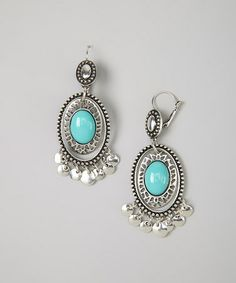 Take a look at this Silver & Turquoise Oval Lever-Back Earrings by Treska on #zulily today! $9 !!