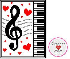 DIY Crochet and Knitting Povyazuli: [Etsy] Pattern Crochet Blanket - Love Music - Crochet Graph - Crochet Pattern - Blanket - Corner to Corner - C2c Crochet Blanket, Graph Crochet, Stitch Crochet, Granny Square Blanket, Granny Square Crochet Pattern, Crochet Blanket Patterns, Crochet Baby, Crochet Granny, Granny Squares