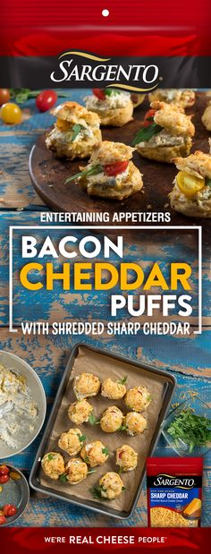 Try these tasty morsels for the ultimate appetizer. These Bacon Cheddar Puffs, made with Off-The-Block Sargento® shredded cheese, will everyone coming back for seconds… and thirds.