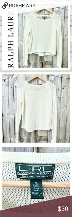 Ralph Lauren Cotton Mesh Scoop-Neck Sweater Sz M Perfect for cool Summer nights! This cotton sweater features open mesh knit and high low detail with a scoop neck front. Excellent like new condition. Bundle and save!  Sorry no trades. Lauren Ralph Lauren Sweaters Crew & Scoop Necks