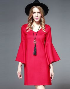 Love #VIPme Red V-neck 3/4 Trumpet Sleeve Mini A-line Dress ❤ Get more outfit ideas and style inspiration from fashion designers at VIPme.com