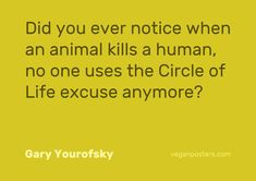 Did you ever notice when an animal kills a human no one uses the circle of life excuse anymore? Vegan Facts, Vegan Memes, Vegan Quotes, Vegan Humor, Why Vegan, Vegan Animals, Circle Of Life, Statements, Vegan Lifestyle