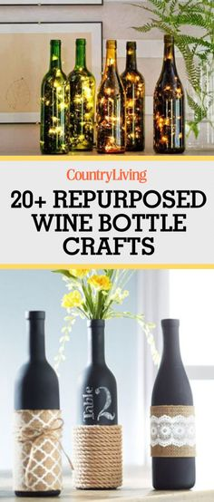 Attention wine lovers: you will LOVE these creative ways to repurpose your empty wine bottles. Feed strands of twinkly lights into wine bottles for a beautiful year-round display for your home. #recycledwinebottles