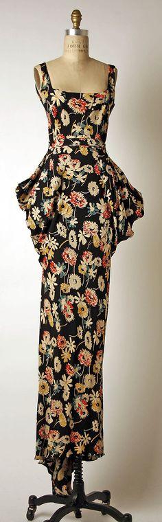 1934-1936 silk evening dress, French