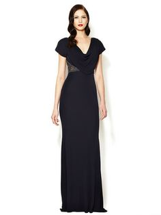 Jersey Cowl Jewel Embellished Gown