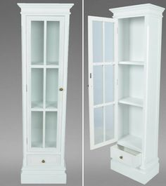 Retro White Book Shelf Antique Wooden Case Drawer Glass Door Home Decoration
