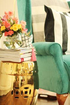 Charming in Charlotte // One Room Challenge Jade green velvet wingback // gold garden stool @HomeGoods
