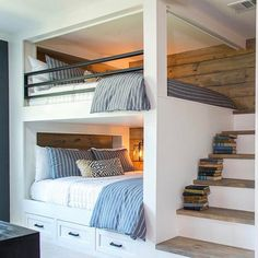 Built-in bunk beds ideas to make a comfortable bedroom design Bedroom Built Ins, Bunk Beds Built In, Bunk Beds With Stairs, Double Bunk Beds, Bunk Bed Rooms, Boy Bunk Beds, Boys Bunk Bed Room Ideas, Kids Room, Loft Beds