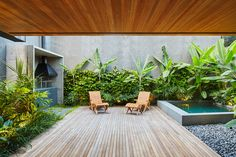 Image 10 of 33 from gallery of Blue House / SIAA + Beatriz Meyer Estúdio. Photograph by Pedro Kok Swimming Pool Designs, Swimming Pools, Palm Trees Landscaping, Outside Pool, Boundary Walls, Glass Facades, Modern Tropical, Backyard, Patio