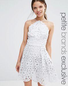 Image 1 ofChi Chi London Petite High Neck Cutwork Midi Prom Dress