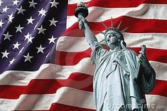 Statue of liberty on american flag background