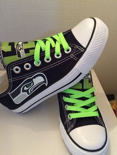 Seattle seahawks 12th man tennis shoes by sportzshoeking on Etsy