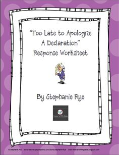 """Freebie!  Use this response worksheet after your students watch the """"Too Late To Apologize"""" music video on YouTube.  Your students will love this Revolutionary War adaptation of a popular song!"""