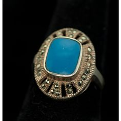 Fabulous Art Deco Sterling Silver Vintage Marcasite Ring with Bezel... ($40) via Polyvore featuring jewelry, rings, vintage turquoise jewelry, sterling silver stone rings, vintage art deco ring, stone rings and vintage jewelry