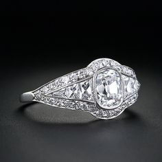 1.00 Carat Antique Cushion Cut Diamond Engagement Ring