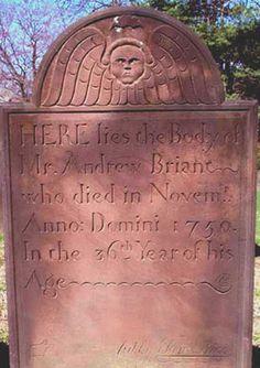 Ebenezer Price - Gravestone of Andrew Briant, 1750, Westfield, New Jersey.