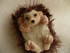 Needle Felted Hedgehog Collectible OOAK by by grannancan on Etsy, a new freiend for my other hedgehog