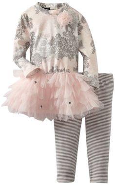 Kate Mack Baby-Girls Infant Belle Epoque Tunic Stripe Legging, Pink, 12 Months Kate Mack