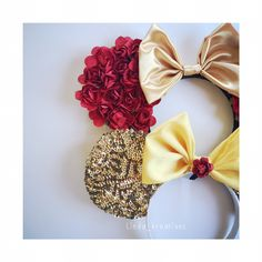 Princess mouse ears belle beauty and the beast Minnie ears Mickey ears Disney #lindakreations #LKMOUSEEARS
