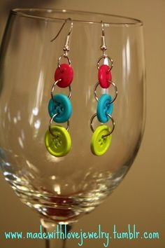 Button Earrings  https://www.facebook.com/MadeWithLoveJewelryByShana