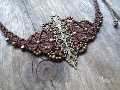 Micro macrame necklace elven jewelry by creationsmariposa on Etsy