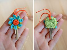 Crochet keycover with flower -              ♪ ♪... #inspiration #diy #crochet  #knit GB  http://www.pinterest.com/gigibrazil/boards/