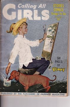 Calling All Girls vintage magazine - girl painting with her dachshund