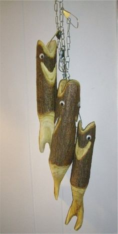 Rustic country fish carved with a chainsaw