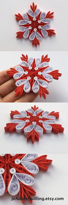 Snowflakes Red White Christmas Tree Decor Winter Ornaments Gift Toppers Fillers Office Corporate Paper Quilling Quilled Handmade Art