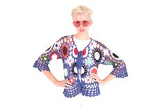 90s Rainbow Granny Square Knit Crochet Crop Top / door FLUFFSHOPP