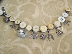 RESERVED  for Rhett Vintage Button Bracelet Altered  by QueenBe
