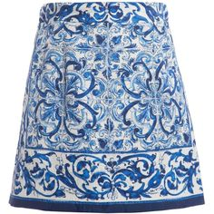 Dolce Gabbana Blue 'Majolica' Brocade Skirt (4.965 ARS) ❤ liked on Polyvore featuring skirts