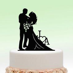 Black Wedding Cake Toppers Bride And Groom Heart Flower