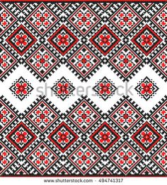 Embroidered old handmade cross-stitch ethnic Ukrainian pattern. Towel with ornament, called rushnyk in vector Cross Stitch Designs, Cross Stitch Patterns, Pyrography Patterns, Rugs On Carpet, Carpets, Ethnic Patterns, Embroidery Stitches, Needlepoint, Bohemian Rug