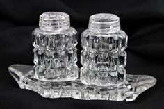 Elegant Glass Salt and Pepper Shakers, Matching Glass Tray, Glass Tray, Pressed Glass, Home Hacks, Vintage Home Decor, Home Decor Items, Salt And Pepper, 1960s, Architecture Design, Passion